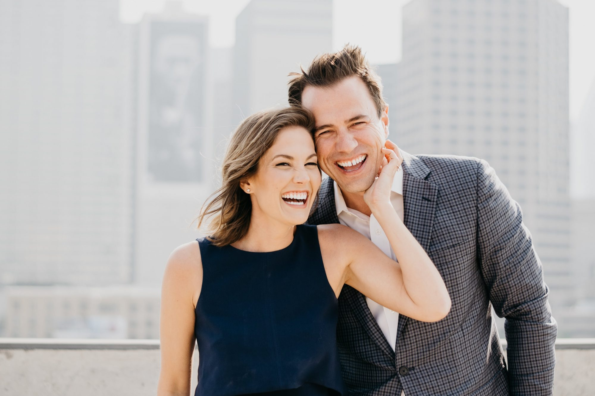 cityscape skyline engagement shoot candid dallas texas